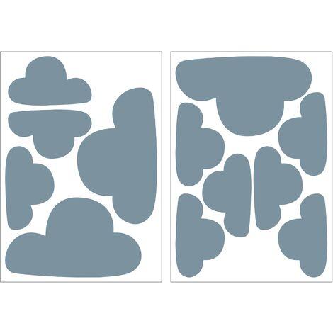 Stickers Muraux Nuages Bleu 6 X 25X25X17,5Cm