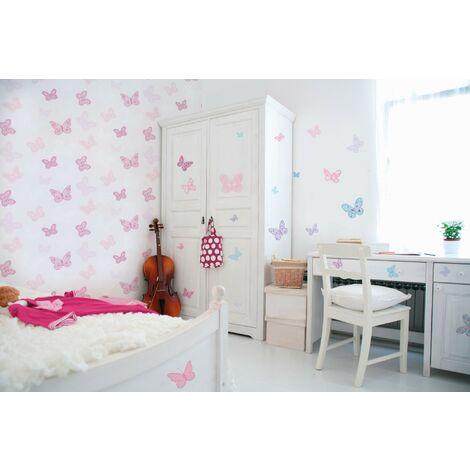 Stickers Muraux Papillons Multicolore 25 X 70 Cm Papillons