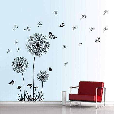 Stickers Muraux Pissenlit et Papillon Autocollant Mural Chambre Salon Bureau Décoration Murale (Noir)