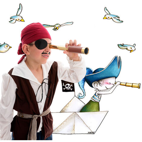 Stickers Pirate aux aguets 60x110 - Bleu