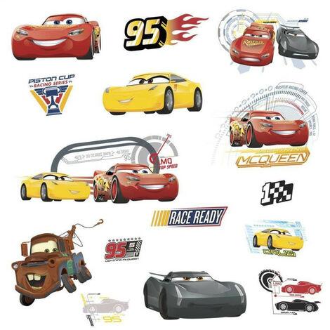 Stickers repositionnables Cars avec Flash McQueen Martin et ses amis de Disney 25,4CM X 45,7CM