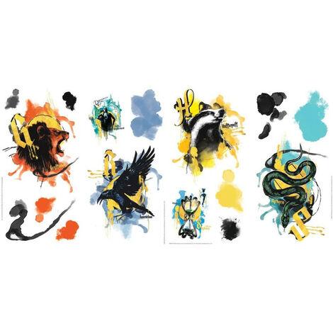 Stickers repositionnables Harry Potter La Maison Poudlard : Gryffondor, Poufsouffle, Serdaigle et Serpentard - - 4 planches 22.9x44.cm chacune