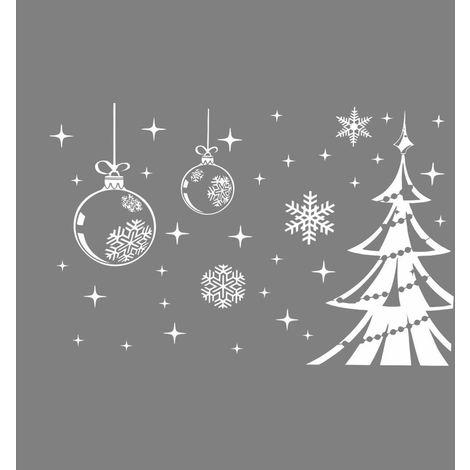 Stickers Sapin Flocon De Neige Noel Fenêtre Décor