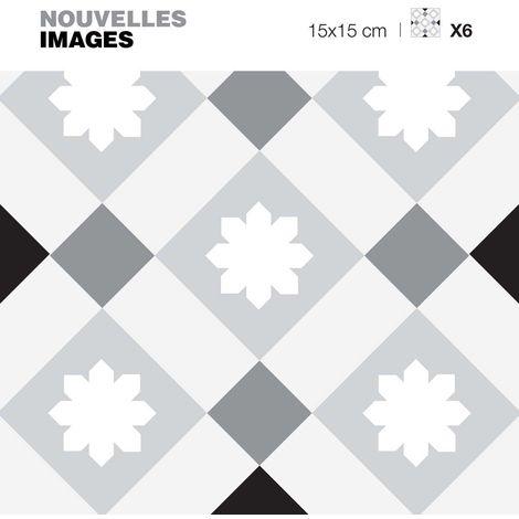Stickers style scandinave losanges gris 15 x 15 cm (Lot de 6) - Gris