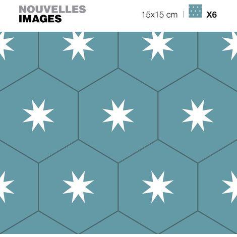 Stickers tomettes bleus verts étoilées 15 x 15 cm (Lot de 6) - Bleu Vert
