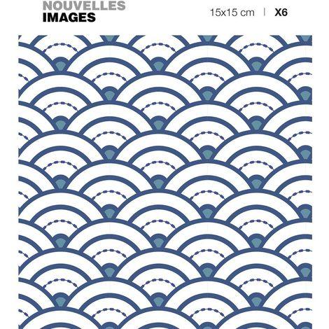 Stickers vague seigaiha japonaise bleue 15 x 15 cm (Lot de 6) - Bleu