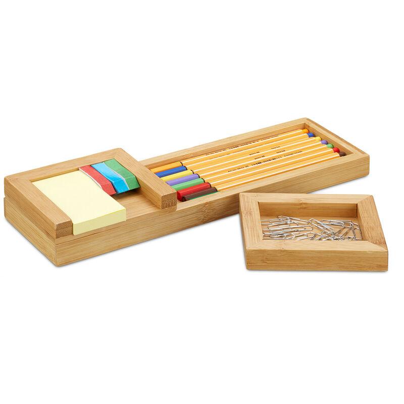 4-teilig und Zettelhalter Bambus Stifte