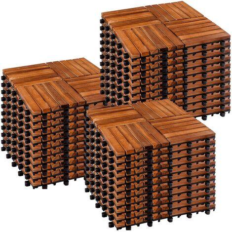 STILISTA® Lot de 33 carreaux en bois d'acacia, modèle mosaïque 4x4