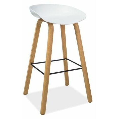 STINT | Tabouret de bar style scandinave | 85x43x36 cm | Siège PP + base métal | Chaise haute de cuisine | Chaise de bar - Blanc