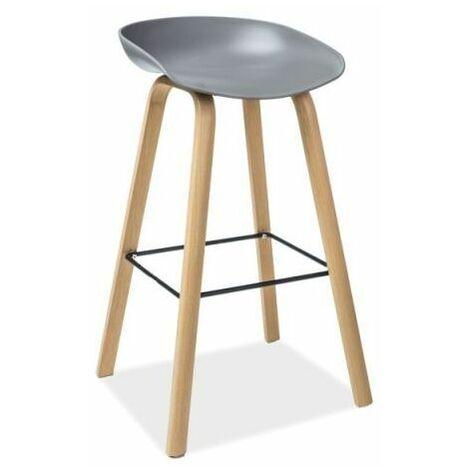 STINT | Tabouret de bar style scandinave | 85x43x36 cm | Siège PP base métal | Chaise haute de cuisine | Chaise de bar - Gris