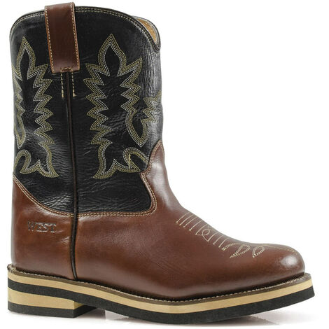 Stivali Western Roper in pelle per bambino bicolore marrone e gambale nero Old West