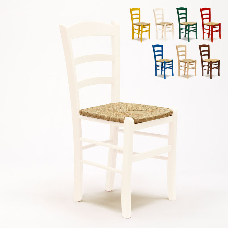 Stock 20 Sedie Paesana in legno e seduta impagliata per ...