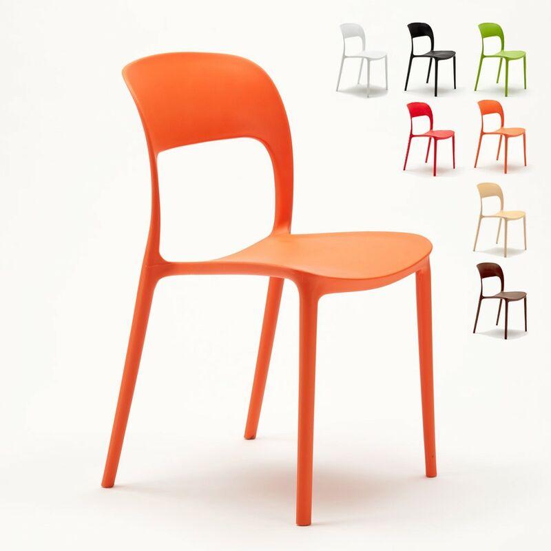 Lot de 24 Chaises pour restaurant et bar en polypropylène | Orange