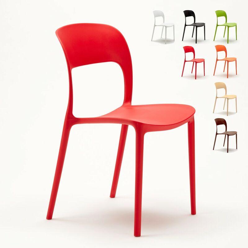 Lot de 24 Chaises pour restaurant et bar en polypropylène | Rouge