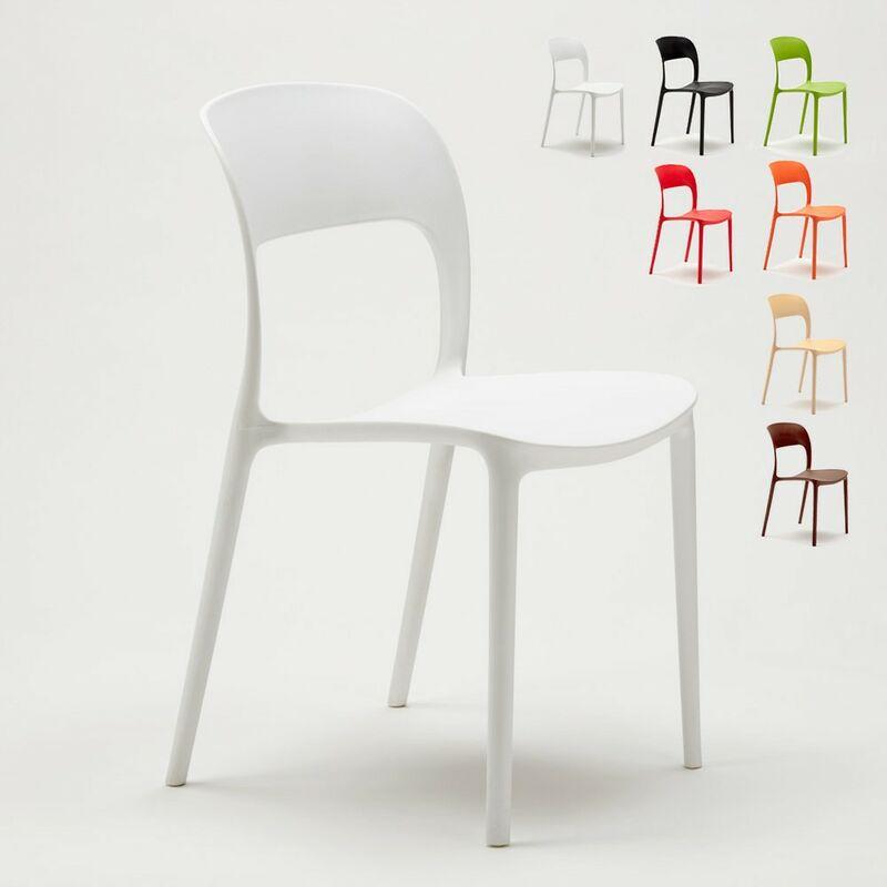 Lot de 24 Chaises pour restaurant et bar en polypropylène   Blanc