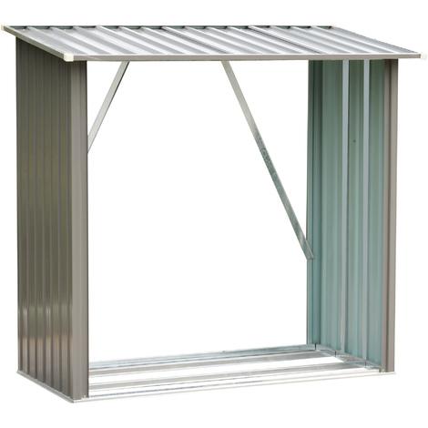 Stockage de bûches abri à bûches extérieur 163L x 89l x 155H cm surface sol 1,13 m² toit incliné acier galvanisé gris