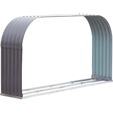 Stockage de bûches abri à bûches extérieur 212L x 40l x 111H cm surface sol 0,85 m² toit voûté acier galvanisé gris