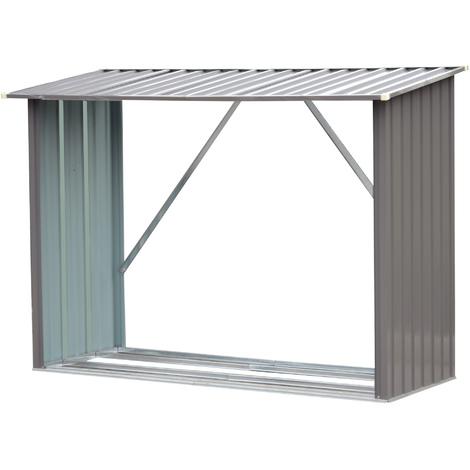 Stockage de bûches abri à bûches extérieur 217L x 89l x 142H cm surface sol 1,53 m² toit incliné acier galvanisé gris
