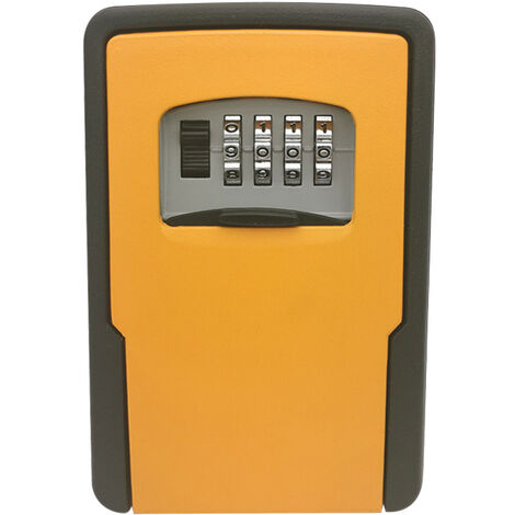 Stockage Des Cles De Verrouillage Boite Murale Key Lock Box Avec Une Combinaison De 4 Chiffres Pour Maison Touches Cles De Voiture Pour Home Office, Orange