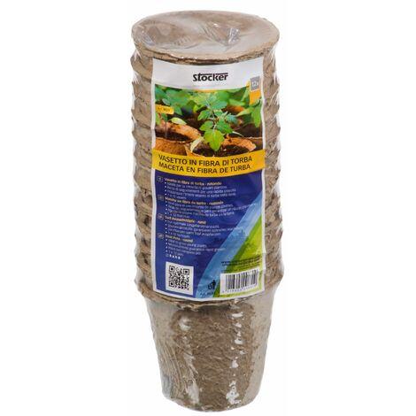 Stocker Vasetti di Torba Rotondi per Piante - 8 x 8 cm - 12 pz