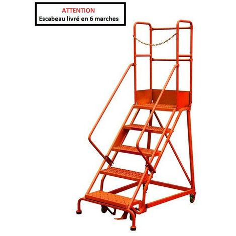 Stockman - Escabeau de sécurité immobilisation automatique 6 marches - RLC356