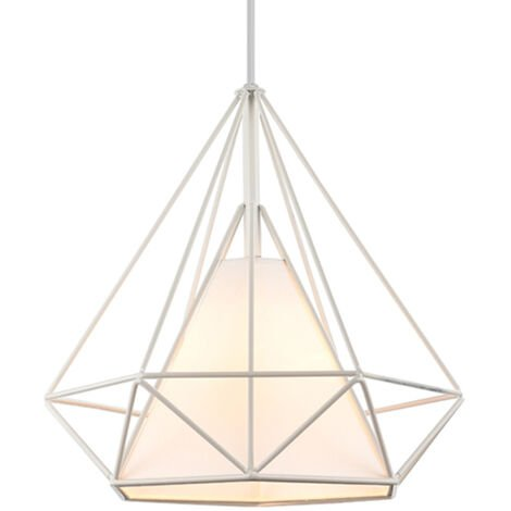 STOEX 1 Chandelier Lamp Industrial Pendant Light 25cm White, Vintage Ceiling Diamond Shape Iron Cage E27 for Kitchen Dining Room Bar Cafeteria Restaurant