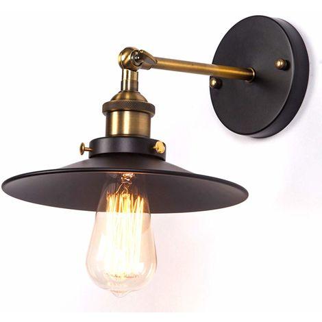 STOEX Apliques de Pared Sombrero Vintage Lámpara Industrial Lámpara de Pared, Casquillo E27, Color Negro
