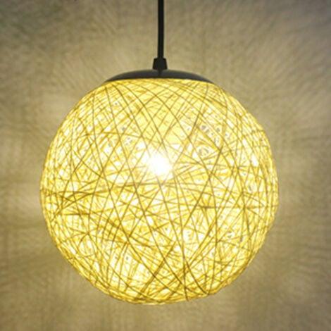STOEX Beige Rétro Suspension Luminaire en Rotin Globe Rond 15cm , Lustre Abat-jour DIY Lampe Plafond E27 pour Salon Restaurant Centre commercial Bar