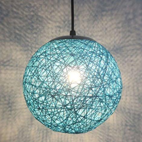 STOEX Bleu Rétro Suspension Luminaire en Rotin Globe Rond 15cm , Lustre Abat-jour DIY Lampe Plafond E27 pour Salon Restaurant Centre commercial Bar