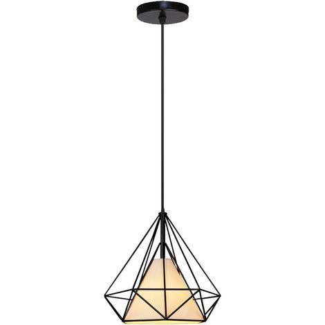 STOEX Chandelier Lamp Industrial Pendant Light 20cm Black, Vintage Ceiling Diamond Shape Iron Cage E27 for Kitchen Dining Room Bar Cafeteria Restaurant