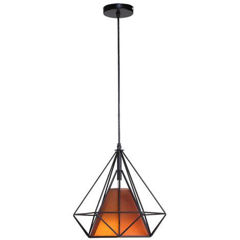 STOEX Chandelier Lamp Industrial Pendant Light 25cm Black Brown, Vintage Ceiling Diamond Shape Iron Cage E27 for Kitchen Dining Room Bar Cafeteria Restaurant
