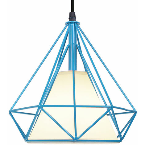 STOEX Chandelier Lamp Industrial Pendant Light 25cm Black, Vintage Ceiling Diamond Shape Iron Cage E27 for Kitchen Dining Room Bar Cafeteria Restaurant