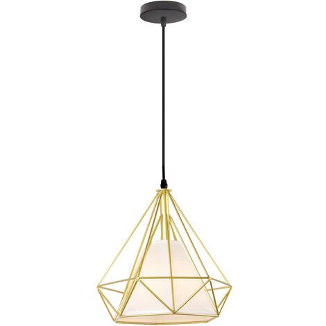 STOEX Chandelier Lamp Industrial Pendant Light 25cm Gold, Vintage Ceiling Diamond Shape Iron Cage E27 for Kitchen Dining Room Bar Cafeteria Restaurant