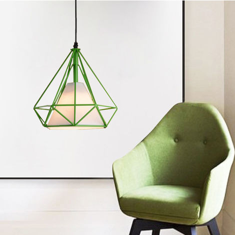 STOEX Chandelier Lamp Industrial Pendant Light 25cm Green, Vintage Ceiling Diamond Shape Iron Cage E27 for Kitchen Dining Room Bar Cafeteria Restaurant