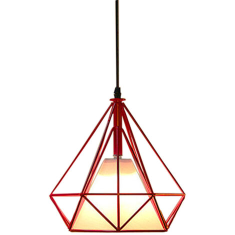 STOEX Chandelier Lamp Industrial Pendant Light 25cm Red, Vintage Ceiling Diamond Shape Iron Cage E27 for Kitchen Dining Room Bar Cafeteria Restaurant