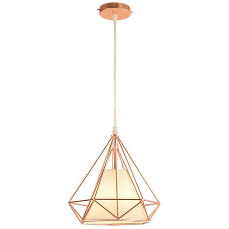 STOEX Chandelier Lamp Industrial Pendant Light 25cm Rose Gold, Vintage Ceiling Diamond Shape Iron Cage E27 for Kitchen Dining Room Bar Cafeteria Restaurant