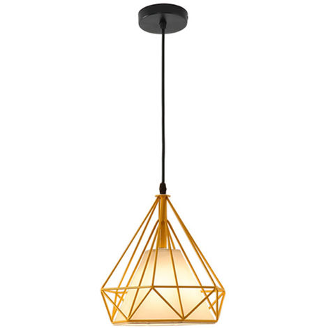 STOEX Chandelier Lamp Industrial Pendant Light 25cm Yellow, Vintage Ceiling Diamond Shape Iron Cage E27 for Kitchen Dining Room Bar Cafeteria Restaurant