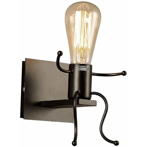 STOEX Creativo Vintage Apliques de Pared Lámpara Metal Industrial Retro Luz de Pared Base de Hierro Art Deco E27 Base para Bar Dormitorio Cocina Restaurante Cafetería Pasillo (Negro)
