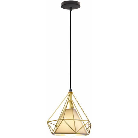 STOEX Lámpara Colgante Luz de Techo Diseño Moderno Industial Minimalismo Diamante Pirámide Cage Pájaro Jaula de Hierro Restaurante Bar Pasillo(Oro?