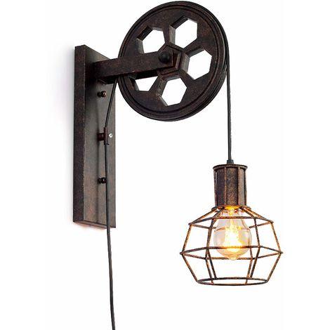 STOEX Lámpara de Pared Polea Aplique E27 Lámpara de Pared Vintage Retro Iluminación de Pared Iluminación Creativa para Escalera Pasillo Cafe Bar Restaurante Hotel (No Incluye la Bombilla)