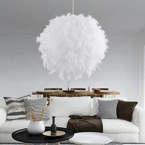 STOEX Lustre Suspension en Plumes 30 cm E27 40W Blanc pour Salon, Chambre de votre fille ou garçon