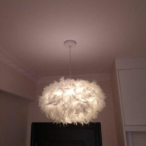 STOEX Lustre Suspension en Plumes Blanc 45 cm 40W E27, Plafonnier Luminaires Abat-Jour pour Chambre, Salon, Décoration