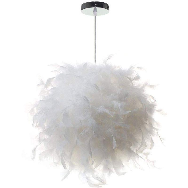 STOEX Lustre Suspension luminaire en plume blanche design forme sphère E27  40W pour Chambre Décoration Cadeau d\'enfant