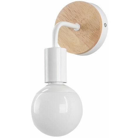 STOEX Moderno creativo de madera Vintage lámpara de pared de hierro forjado E27 40W de montaje en pared lámpara de cabecera de luz de lectura para dormitorio Salón (Blanco)