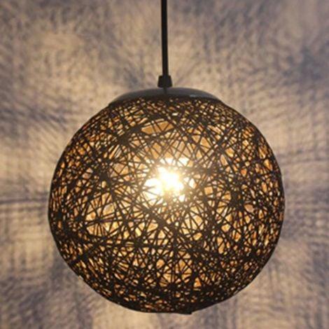 STOEX Noir Rétro Suspension Luminaire en Rotin Globe Rond 15cm , Lustre Abat-jour DIY Lampe Plafond E27 pour Salon Restaurant Centre commercial Bar