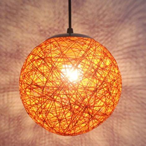 STOEX Orange Rétro Suspension Luminaire en Rotin Globe Rond 15cm , Lustre Abat-jour DIY Lampe Plafond E27 pour Salon Restaurant Centre commercial Bar