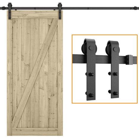 STOEX Quincaillerie Kit de Rail Roulettes pour Porte Coulissante Hardware pour Porte Suspendue en Bois Sliding Barn Door - 180cm