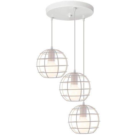 STOEX Rétro Lampe Suspension Vintage, E27 Lustre Abat-jour Industrielle Disque 3 Luminaire Cage forme Balle Rond Suspendu Lampe (Blanc)