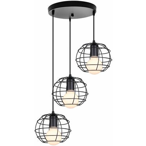 STOEX Rétro Lampe Suspension Vintage, E27 Lustre Abat-jour Industrielle Disque 3 Luminaire Cage forme Balle Rond Suspendu Lampe (Noir)