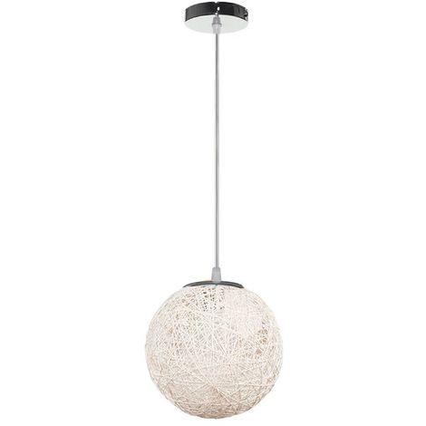 STOEX Rétro Suspension Luminaire en Rotin Globe Rond 20cm, Lustre Abat-jour DIY Lampe Plafond E27 pour Salon Restaurant Centre commercial Bar - Blanc